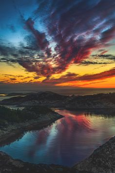 """opticcultvre: """" """"fire in the NORTH SEA"""" - Sotra, Norway by jappern """" Forest Scenery, Sky Sea, Dusk To Dawn, Sunset Landscape, North Sea, Heaven On Earth, Beautiful Images, Beautiful Scenery, Beautiful Sunset"""