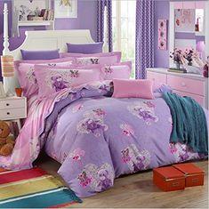 Cartoon Pattern Princess Design Bedding Sets Children Bedding Cute Bedding Set 100% Cotton Bow Bear Flora Print Duvet Cover Set Gift Idea (Queen, Bear) //Price: $160.58 & FREE Shipping //     #bedding sets