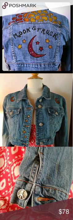 Boho Gypsy Jacket, Hand Painted Denim, Festival If you like wearing a Boho Gypsy Jacket,you will love this hand painted denim Jean jacket for a FESTIVAL style top.  This type of artisan wear keeps its value.  The sizing is 4 to 6.  Easy checkout...FAST shipping! Vintage Jackets & Coats Jean Jackets