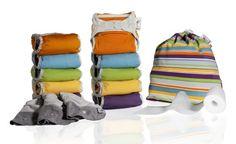 Close Parent 3121001115 - Pack de 10 pañales de tela en colores fuertes con interior de bambú + 3 absorbentes de noche + 80 forros + 1 bolsa impermeable