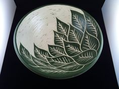 Large Green Leaf Pattern Sgraffito Bowl