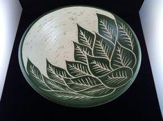 Large Green Leaf Pattern Sgraffito Bowl