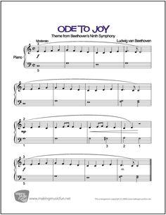 Ode to Joy (Beethoven) | Sheet Music for Easy Piano (Digital Print) http://makingmusicfun.net/htm/f_printit_free_printable_sheet_music/ode-to-joy.htm