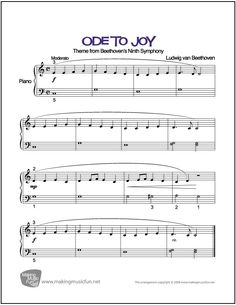 Ode to Joy (Beethoven) | Sheet Music for Easy Piano (Digital Print) http://makingmusicfun.net/htm/f_printit_free_printable_sheet_music/ode-to-joy.htm