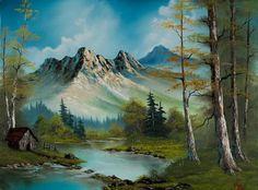 bob ross mountain cabin paintings