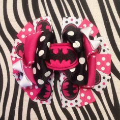 Black Pink and White Batman Hair Bow by MegansHairCandy on Etsy, $10.00