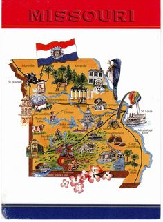 Missouri USA Souvenir Map State Magnet Magnets Travel usa and
