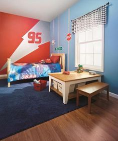 Cars room for little boy with Metallic Disney Paint! Disney Paints are not your typical paints, and this stylish boys room makeover will keep your little guy happy for years! Bedroom Red, Boys Bedroom Decor, Bedroom Themes, Home Bedroom, Bedroom Ideas, Disney Cars Room, Car Themed Bedrooms, Boy Room Paint, Disney Bedrooms