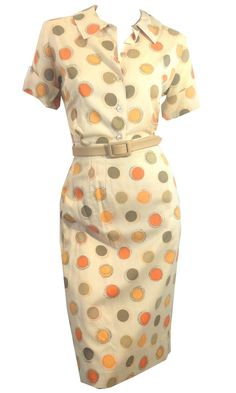 Tangerine and Lemon Polka Dot Tan Skirt and Blouse Set circa 1960s Dorothea's Closet Vintage Clothing