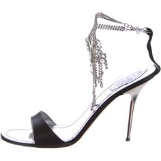 Pre-owned Rene Caovilla Embellished Satin Sandals ($175) ❤ liked on Polyvore featuring shoes, sandals, black, black ankle strap sandals, ankle strap sandals, metallic sandals, jewel sandals and black buckle sandals