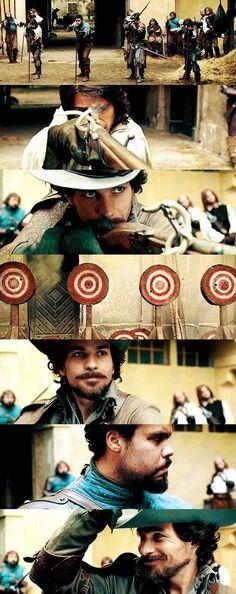 Aramis is the best shot. The Musketeers Tv Series, Bbc Musketeers, The Three Musketeers, Milady De Winter, Howard Charles, Luke Pasqualino, Tom Burke, Bbc Drama, Mystic Falls