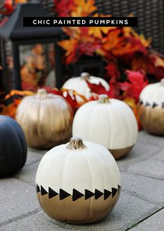 DIY Tutorial: Chic Painted Fall White + Gold Pumpkins