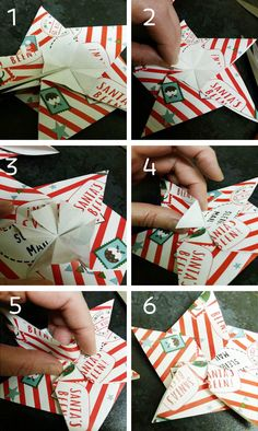 5 pointed origami star tidying the back