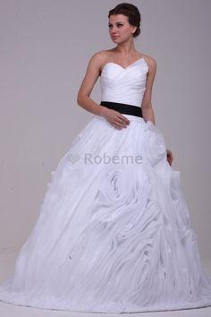Robe de mariée avec lacets avec fleurs manche nulle de traîne mi-longue col en…