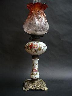 Glass and brass kerosene lamp with double burner and red shade - Lamps - Kerosene/Oil