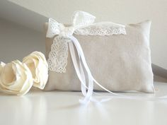 Wedding pillow for ring bearer natural linen and by lalunadianna