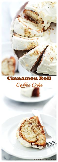 Cinnamon Roll Coffee Cake - All the beautiful flavors of a Cinnamon Roll in a delicious and crumbly coffee cake topped with a sweet Lemon Cream Cheese Frosting.