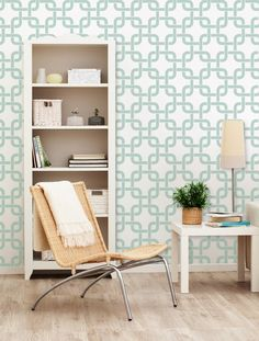 Large Modern Wall Stencil Linked In Allover Stencil More Artistic Than Wall Decals Cheaper Than Wallpaper :). $39.00, via Etsy.