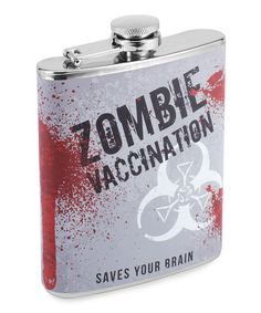 When the undead hordes arrive demanding brains . , make sure you re well prepared with booze . Our Zombie Attack Vaccine hip flask travels with you secretly and securely Zombie Princess, Zombie Dolls, Zombie Attack, Wild Eyes, Favorite Holiday, Cool Gifts, Save Yourself, Party Supplies, Geek Stuff