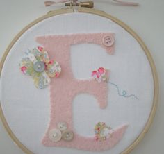 Embroidery Hoop Art  Applique Felt Initial