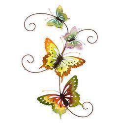 Iridescent Metal Butterfly Wall Art