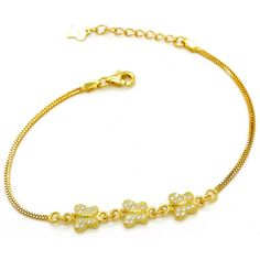 Sterling Silver 18k Gold Flashed Cubic Zirconia Pave 3 Butterfly Link Bracelet, 6.5 1' Ext ** See this great product.