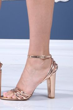 Strappy Heeled Sandals with: Strappy design Open toe style Ankle strap High rise heels Heel height: Our model too her usual size in this style Rose Gold Strappy Heels, Strappy Sandals Heels, Fashion Shoes, Fashion Accessories, Luxury Fashion, Womens Fashion, Wedge Boots, Ankle Strap, Peep Toe