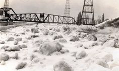 Winter shots at the beach strip. This image shows snow and ice at the beach beside the canal. Note the swing bridge in the background Hamilton Ontario, Hamilton Beach, Historical Images, Local History, Image Shows, Shots, Canada, City, Bridges