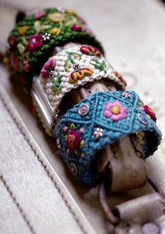 Macrame embroidered bracelets.