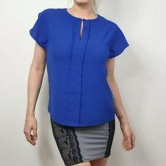 Ossie Clark Size 10 Cobalt Blue Keyhole Front Blouse Shirt Top Royal Designer #OssieClark #Basic