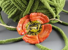 Lampwork Glass Button Orange and Green Flower by FlameTroveBeads