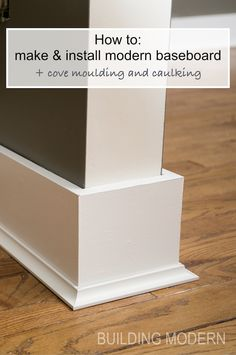 "Installing baseboards, cove moulding, & caulking is part of Home remodeling diy - Instead of reusing our builder grade baseboard, we decided the we wanted a more… go figure ""modern"" look in our house While I do appreciate that fancy moldings … Home Design, Küchen Design, Design Case, Design Ideas, Baseboard Styles, Baseboard Trim, Baseboard Ideas, Bathroom Baseboard, Wainscoting"