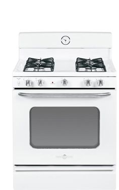 GE Artistry Series Range in white. I recently saw the range and fridge...loved the vintage style and sturdy feel to the oven door.