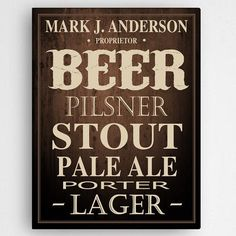 For the beer lovers out there, this beer canvas can proudly display your fondness of the suds. Let your friends know just whose home brew they are enjoying with this personalized beer canvas. Personalized Beer Glasses, Personalized Anniversary Gifts, Personalised Gifts For Him, Personalised Canvas, Personalized Wall Art, Personalized Items, Canvas Signs, Wall Canvas, Canvas Prints