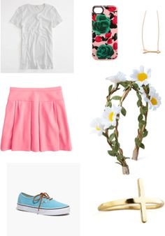 Chick  Items:  Factory tissue tee, J.Crew Factory - $22.50, http://www.shopstyle.com/action/apiVisitRetailer?id=402041865&pid=uid2724-23978418-92 Box pleat skirt in crepe, J.Crew - $49.99, http://www.shopstyle.com/action/apiVisitRetailer?id=461864007&pid=uid2724-23978418-92 Marc by Marc Jacobs iPhone 5 / 5S Mirror Rose Case, Marc by Marc Jacobs - $54.60, http://www.shopstyle.com/action/apiVisitRetailer?id=465435496&pid=uid2724-23978418-92 Jennifer Zeuner Jewelry Horizontal Arrow Necklace…