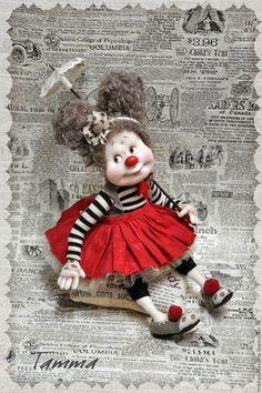 Купить Татта - чёрно-белый, клоунесса, цирк, подарок, подарок женщине, подарок девушке, яркий