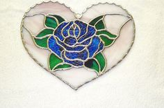 Stained Glass Blue Rose Heart Suncatcher Handcrafted In the