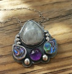 Lotus Pendant in Sterling Silver with Moonstone, Amethyst and Abalone Shell by starnative