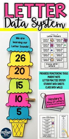Letter Data System for learning letters and letter sounds. Included are Progress Monitoring Tools, Student Ring of Letters System, Parent Note, Student Data Sheets, Class Data Walls Kindergarten Data Wall, Classroom Data Wall, Teaching Kindergarten, Teaching Reading, Classroom Ideas, Reading School, Classroom Charts, Kindergarten Readiness, Reading Room