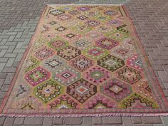 Beautiful Vintage Handmade Decorative Kilim, approximately 60 years old. Very fine quality. All Natural colors. Professionally cleaned, READY to