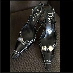 Dior heels size 7.5 black patent leather sling back dice designer rare sexy VGUC…