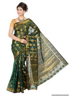 Mimosa Women Kanchipuram Art Kora Silk Saree With Tissue Blouse
