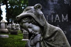 Statue of Little Red Riding Hood at William Black's grave.  Baltimore's beautiful and historic Green Mount Cemetery
