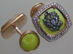 Vintage Faberge 14kt red & white gold enamelled guilloche #cufflinks encrusted with diamonds #Mensfashion #jewelry