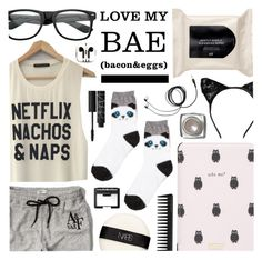 """""""Sunday night"""" by pastelneon ❤ liked on Polyvore featuring H&M, Capelli New York, PhunkeeTree, Kate Spade, Abercrombie & Fitch, NARS Cosmetics, GHD and Bobbi Brown Cosmetics"""