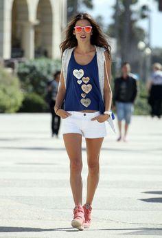 Alessandra Ambrosio summer street style with white shorts.