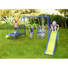 Sportspower Almansor Metal Swing, Slide and Trampoline Set
