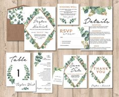 Greenery wedding invitation set wedding invitation suite