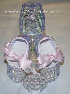Baby bling shoes, pacifier and bottle Bling Bling, Baby Bling, Bling Shoes, Baby Girl Shoes, My Baby Girl, Baby Love, Girls Shoes, Baby Christening, Everything Baby
