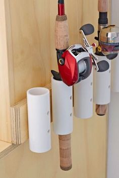 Construct a fishing pole rack to keep rods protected and tidy. Click for the easy DIY.